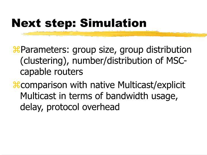 Next step: Simulation