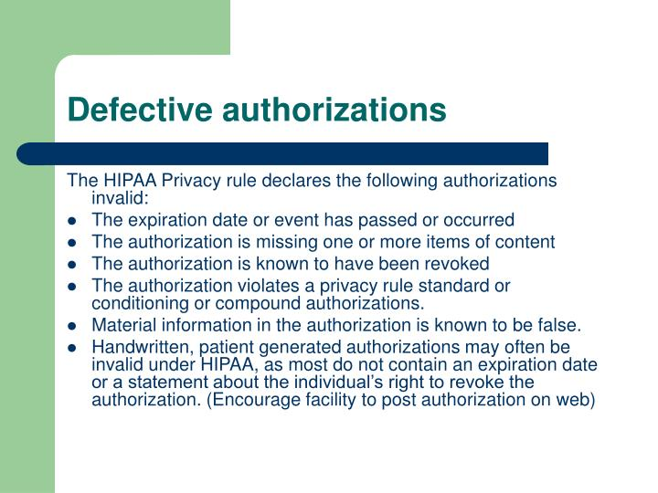 Defective authorizations