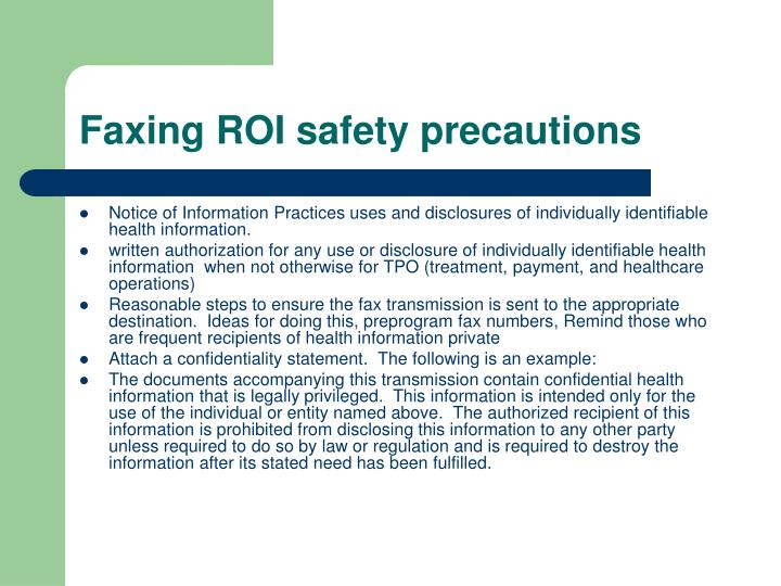 Faxing ROI safety precautions