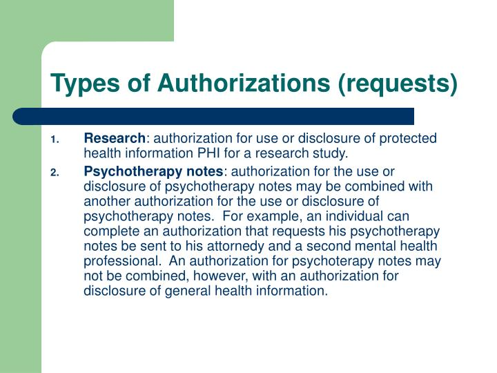 Types of Authorizations (requests)