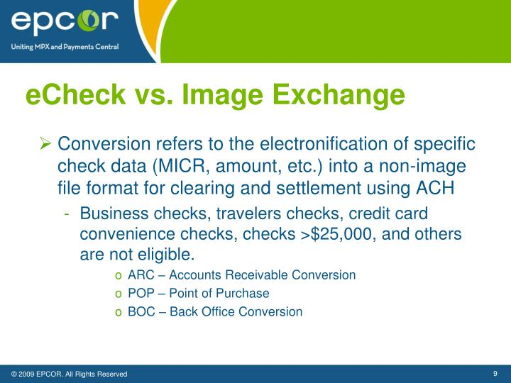 eCheck vs. Image Exchange