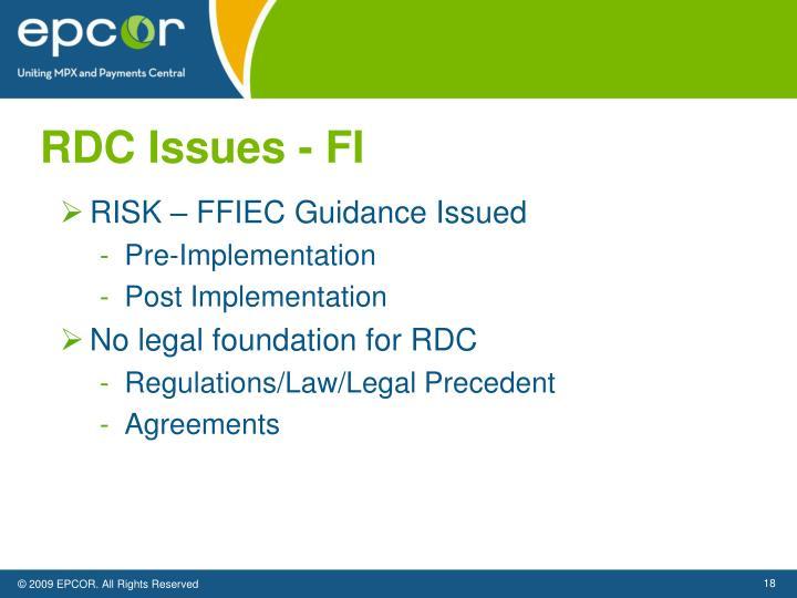 RDC Issues - FI