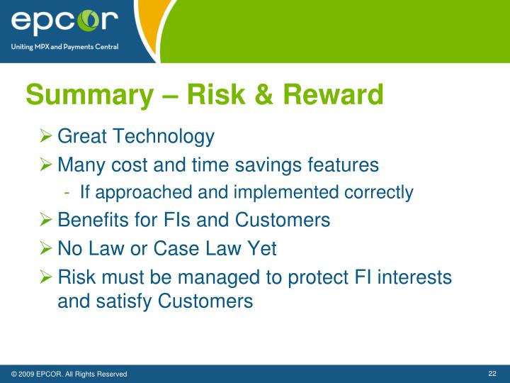Summary – Risk & Reward