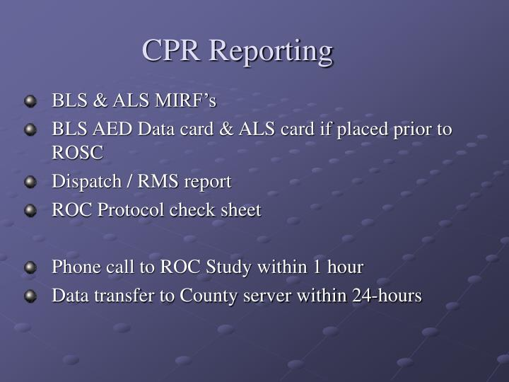 CPR Reporting