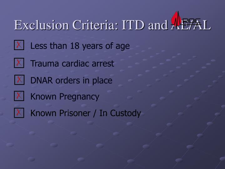 Exclusion Criteria: ITD and AE/AL