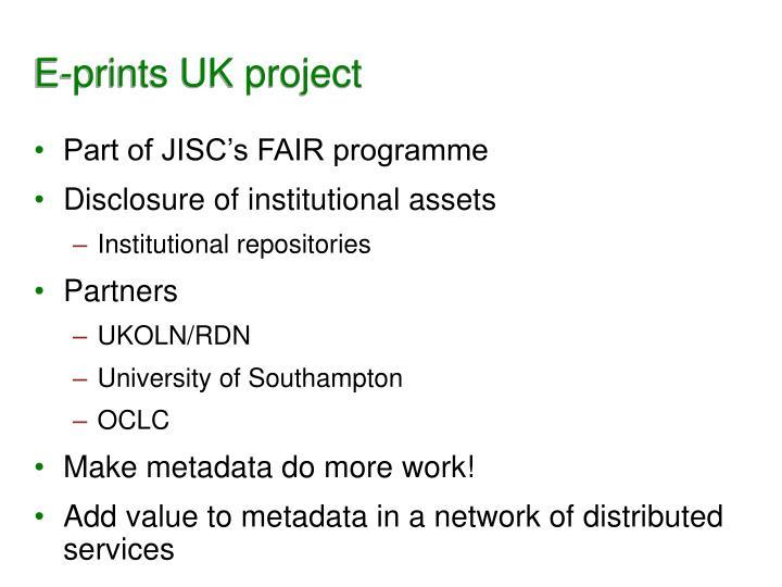 E-prints UK project