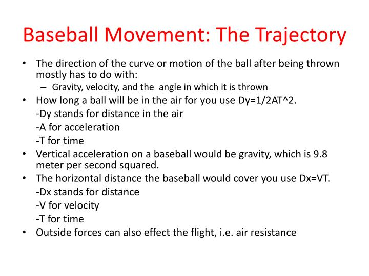 Baseball Movement: The Trajectory