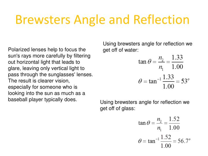 Brewsters Angle and Reflection