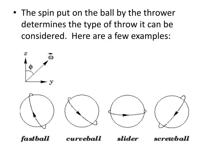 The spin put on the ball by the thrower determines the type of throw it can be considered.  Here are a few examples: