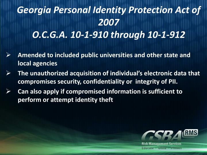 Georgia Personal Identity Protection Act of 2007
