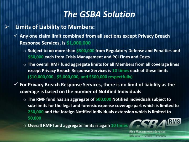The GSBA Solution