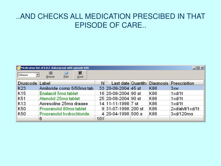 ..AND CHECKS ALL MEDICATION PRESCIBED IN THAT EPISODE OF CARE..