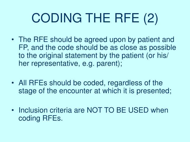 CODING THE RFE (2)