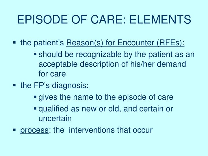 EPISODE OF CARE: ELEMENTS
