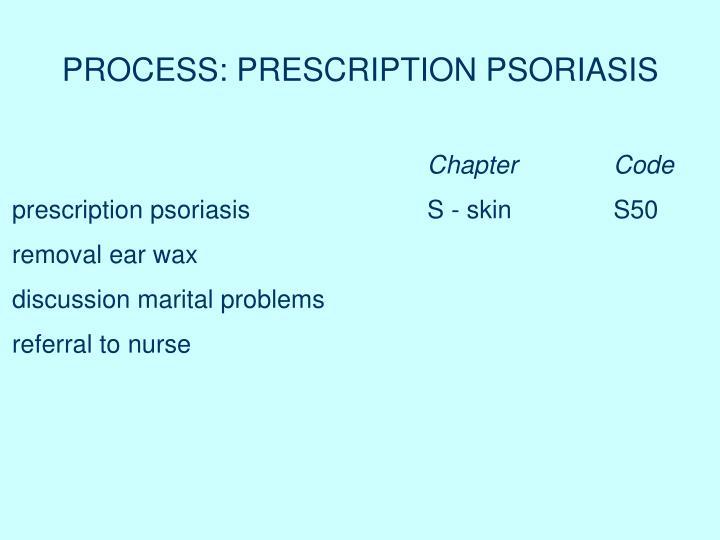PROCESS: PRESCRIPTION PSORIASIS
