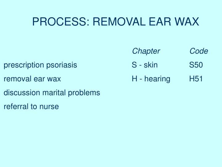PROCESS: REMOVAL EAR WAX