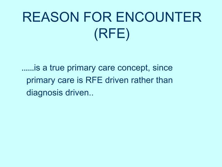 REASON FOR ENCOUNTER (RFE)