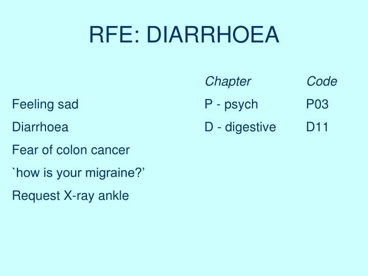 RFE: DIARRHOEA