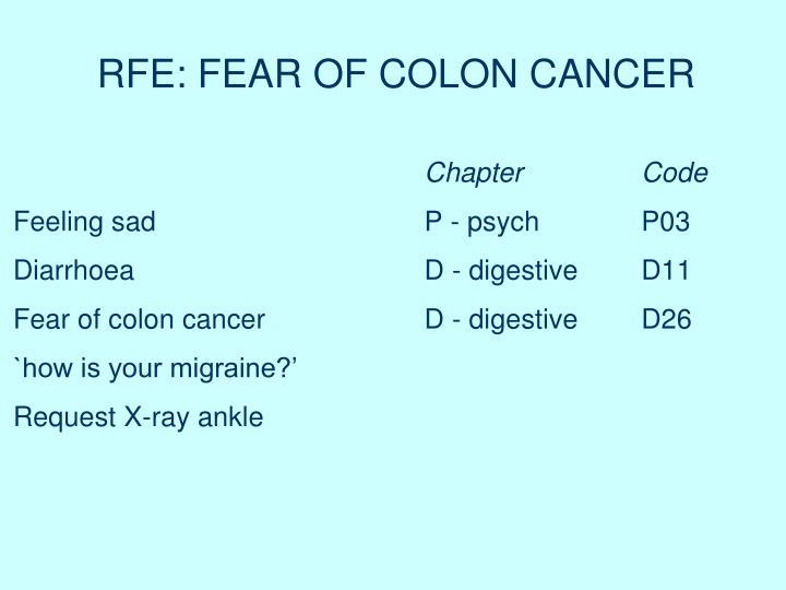 RFE: FEAR OF COLON CANCER