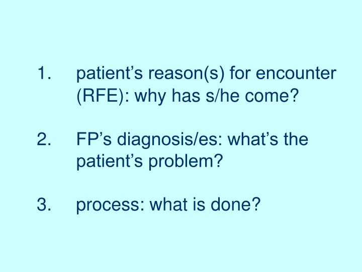 1.	patient's reason(s) for encounter