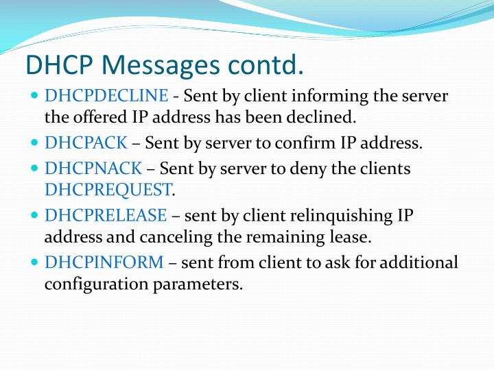 DHCP Messages contd.