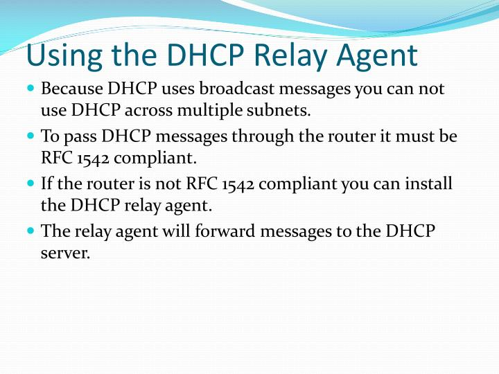 Using the DHCP Relay Agent