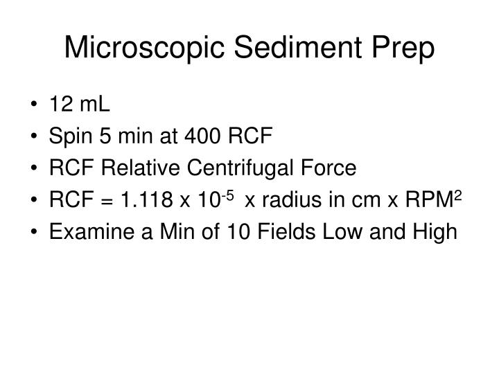 Microscopic sediment prep