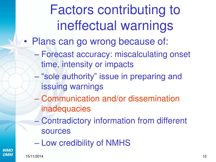 Factors contributing to ineffectual warnings