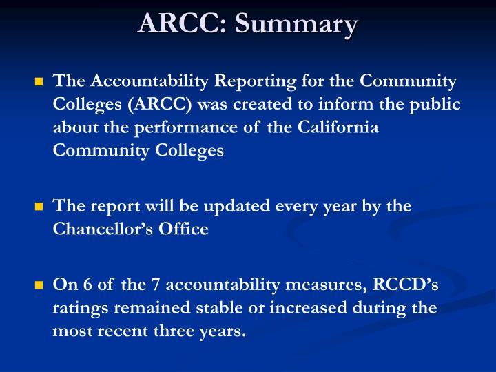 ARCC: Summary