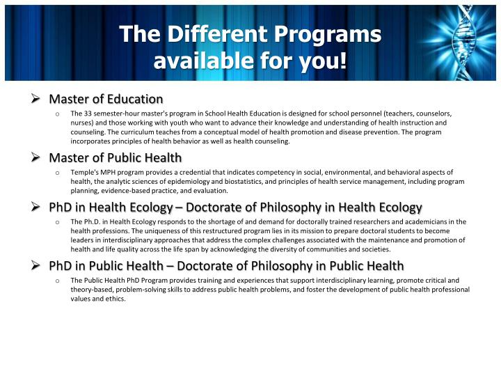 The Different Programs