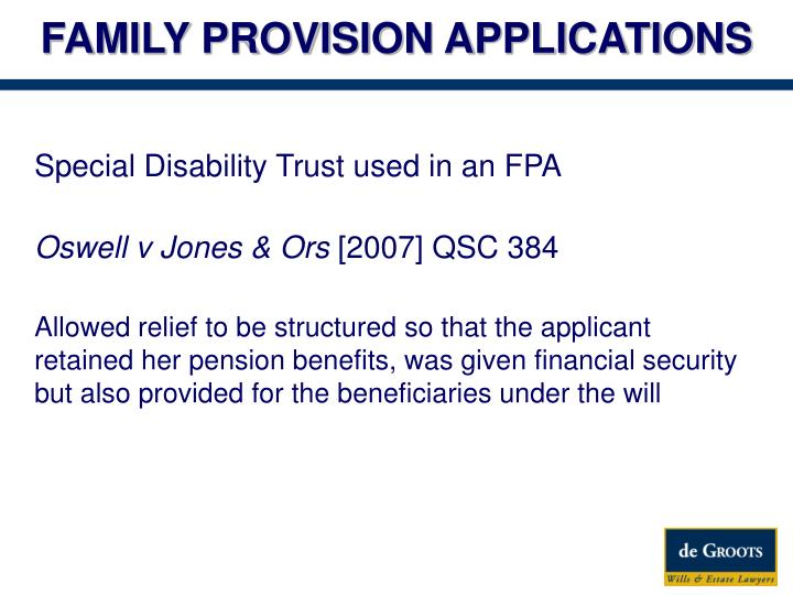 FAMILY PROVISION APPLICATIONS