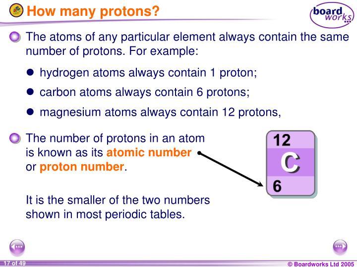 How many protons?