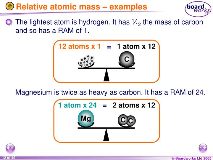 Relative atomic mass – examples