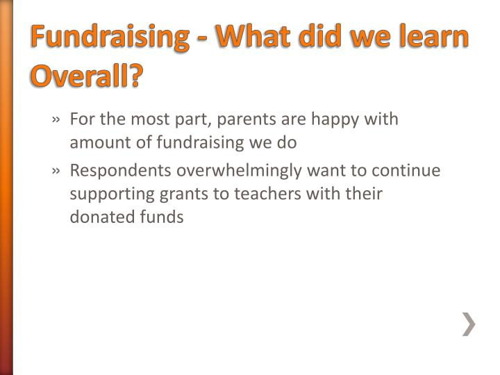 Fundraising - What did we learn