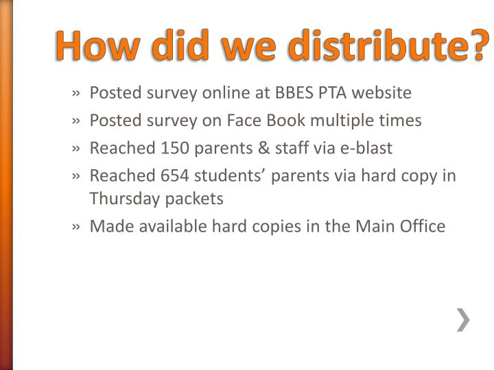 How did we distribute?