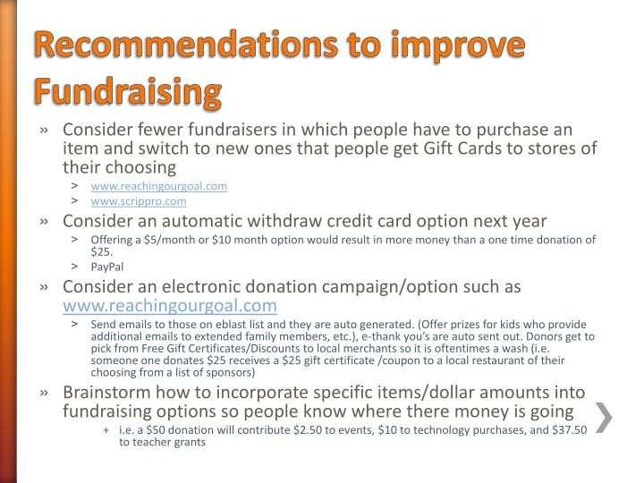Recommendations to improve Fundraising