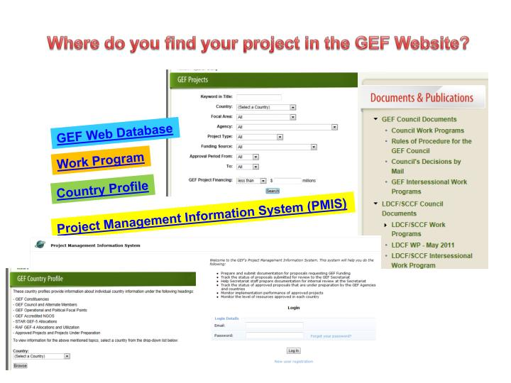 Where do you find your project in the GEF Website?