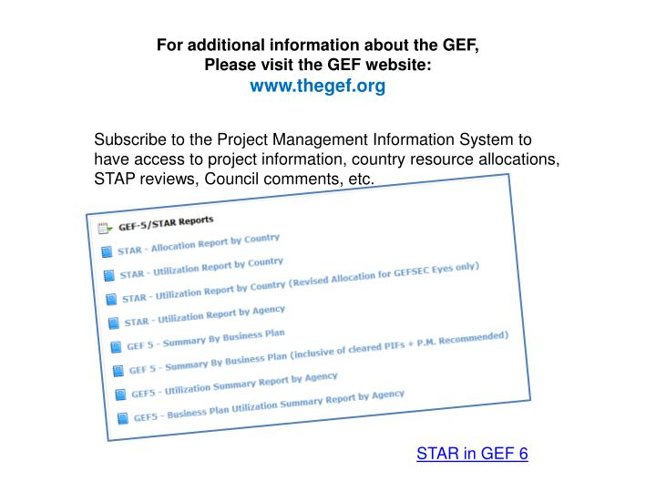 For additional information about the GEF,