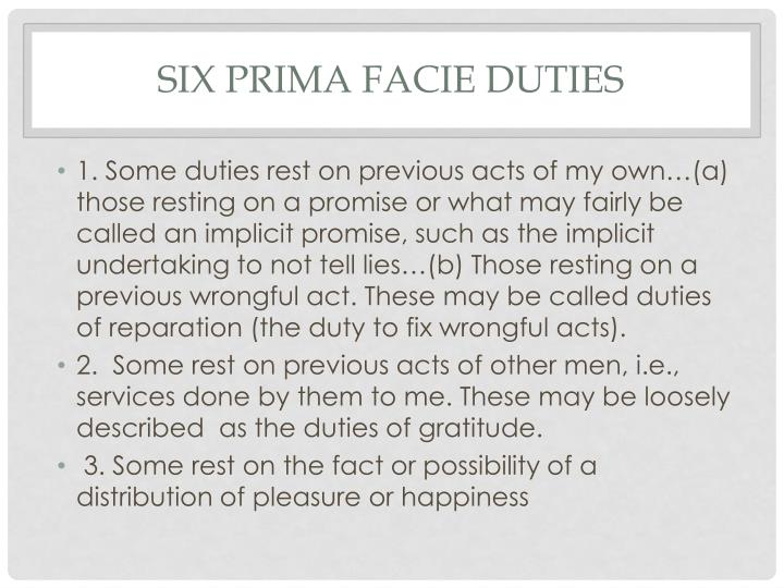 six Prima Facie Duties