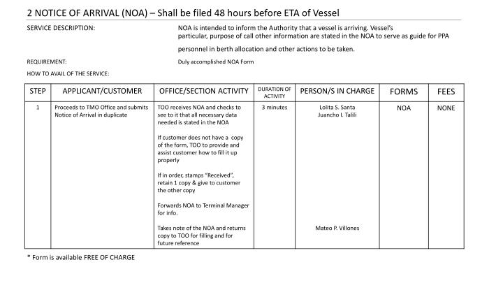2 NOTICE OF ARRIVAL (NOA) – Shall be filed 48 hours before ETA of Vessel
