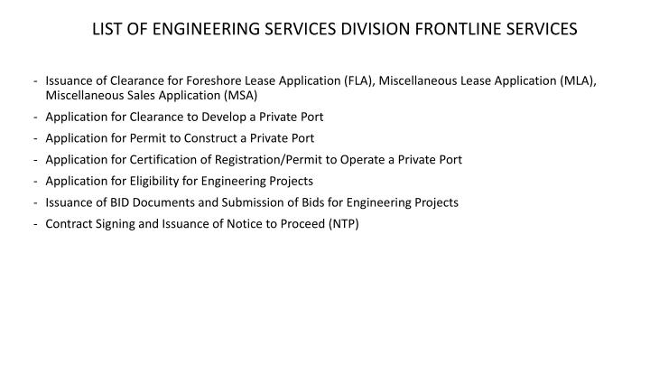 LIST OF ENGINEERING SERVICES DIVISION FRONTLINE SERVICES