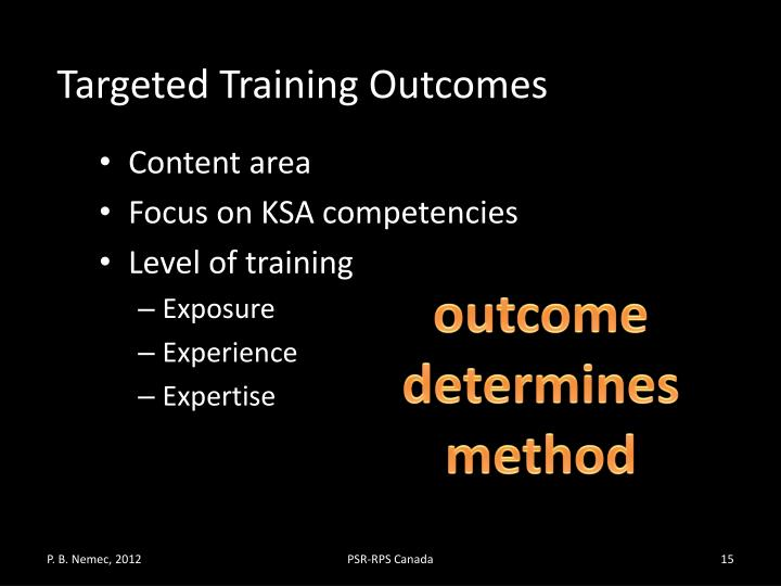 Targeted Training Outcomes