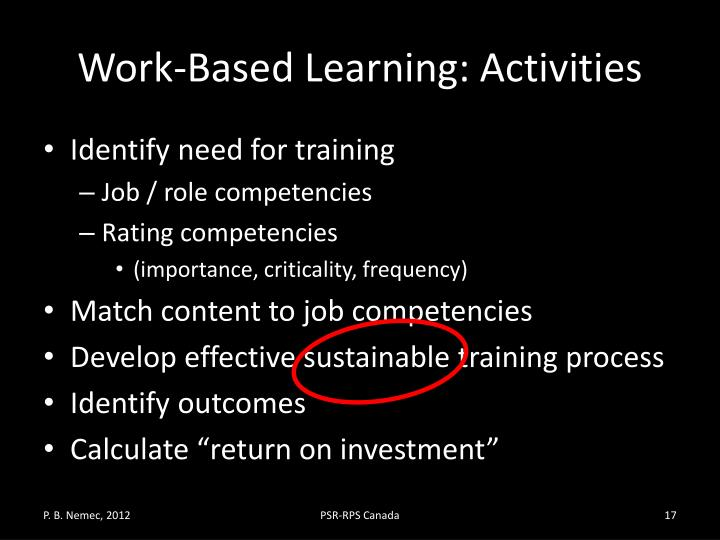 Work-Based Learning: Activities