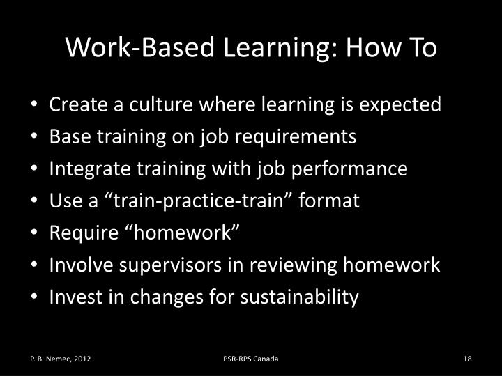 Work-Based Learning: How To