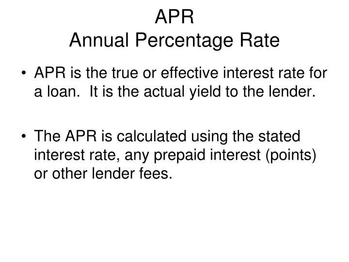 Apr annual percentage rate