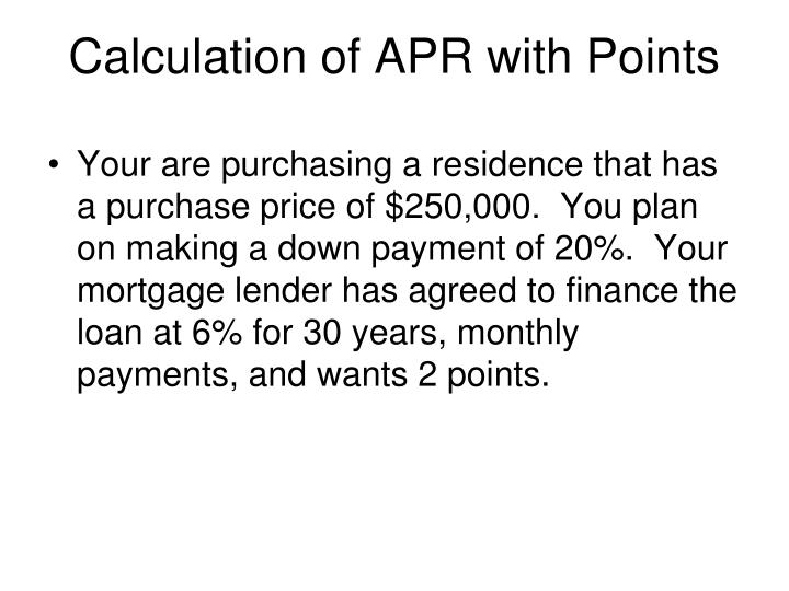 Calculation of apr with points
