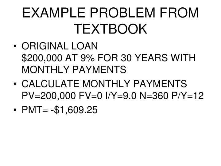 EXAMPLE PROBLEM FROM TEXTBOOK