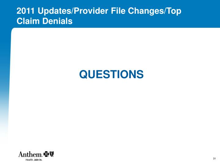 2011 Updates/Provider File Changes/Top Claim Denials