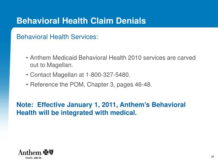 Behavioral Health Claim Denials