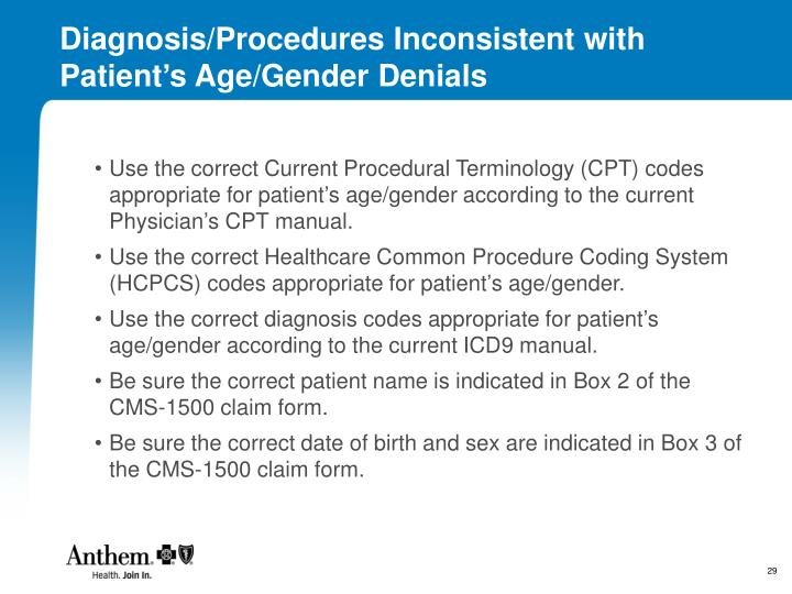 Diagnosis/Procedures Inconsistent with Patient's Age/Gender Denials